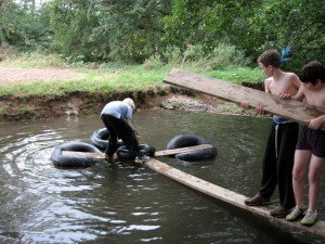 An improvised river crossing