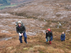 Making our way up from the river onto Meall Garbh